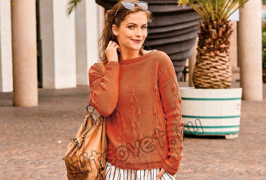 Вязание пуловера с вертикальными рельефными узорами, фото 1.