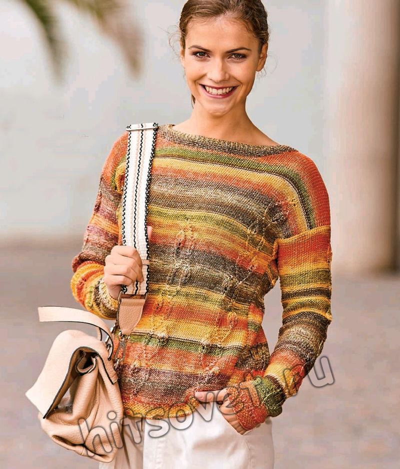Вязание пуловера с вертикальными рельефными узорами, фото 2.