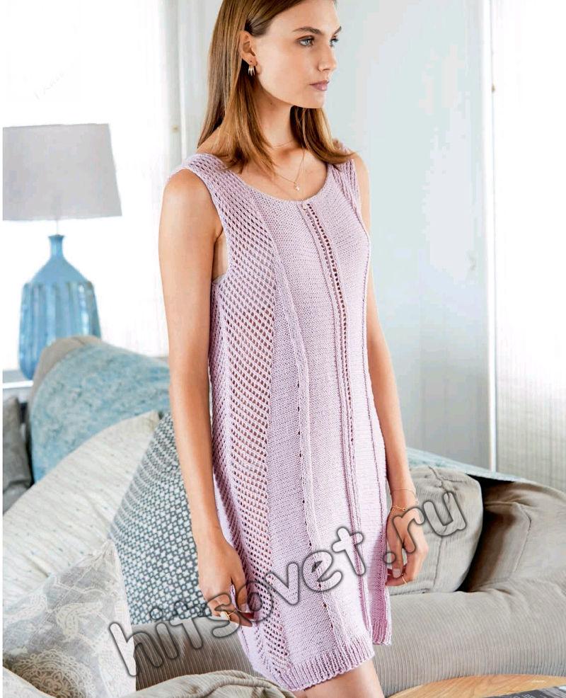 Вязаное платье с сетчатыми вставками, фото.