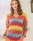 Цветной полосатый пуловер спицами