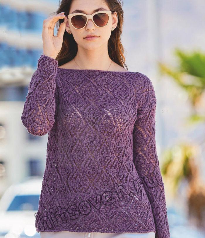 Летний пуловер с узором листья, фото.