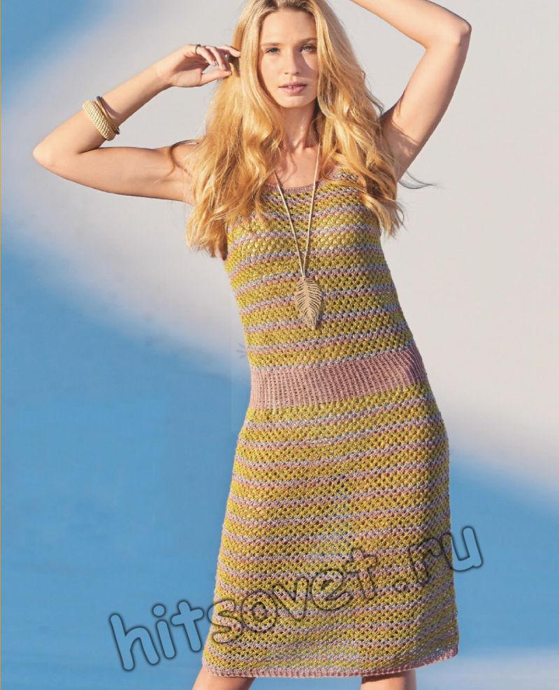 Модное вязаное платье из конопли, фото.