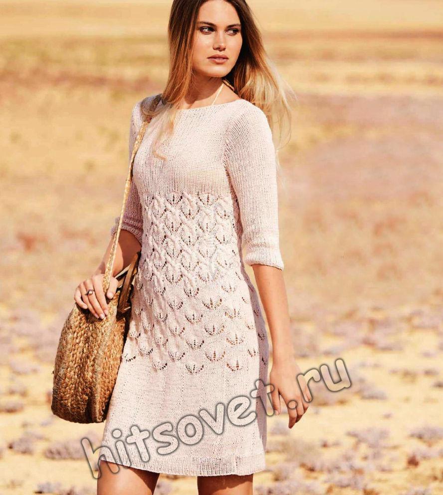 Розовое платье спицами схемы и описание