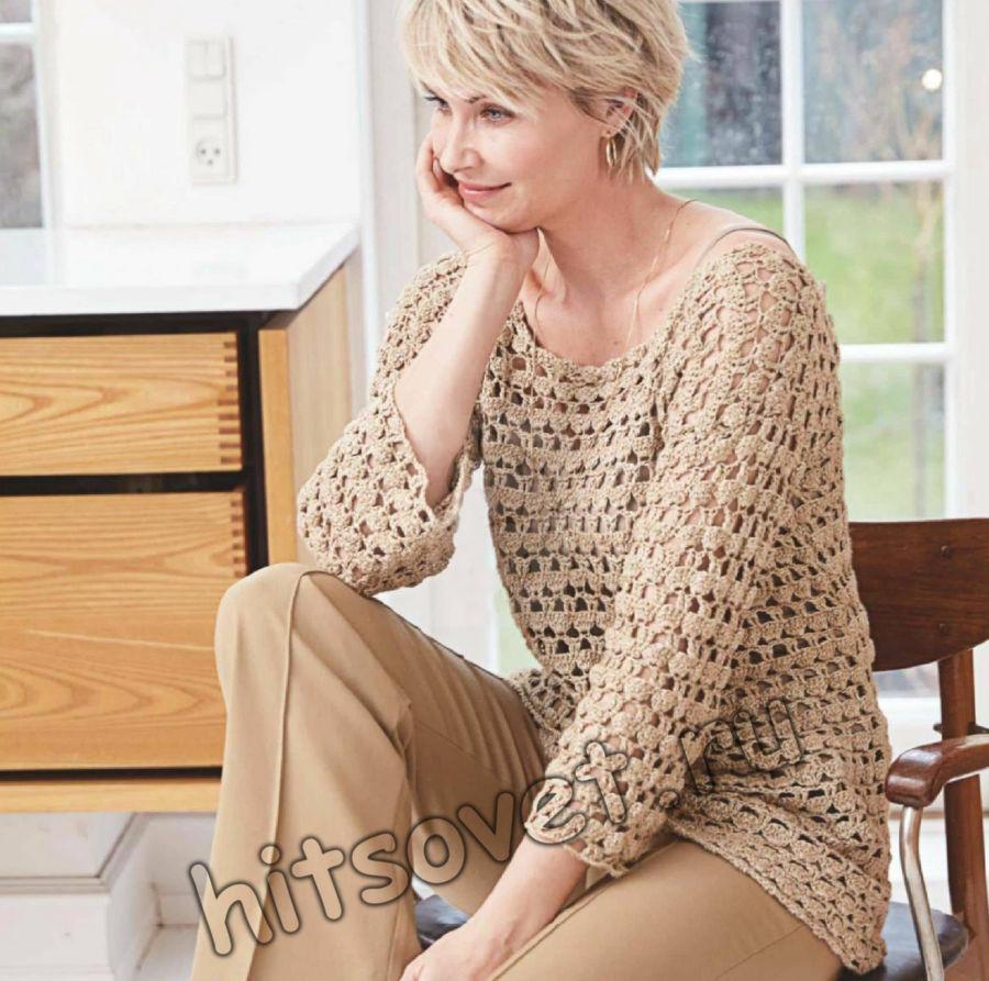 Стильный летний пуловер крючком, фото.