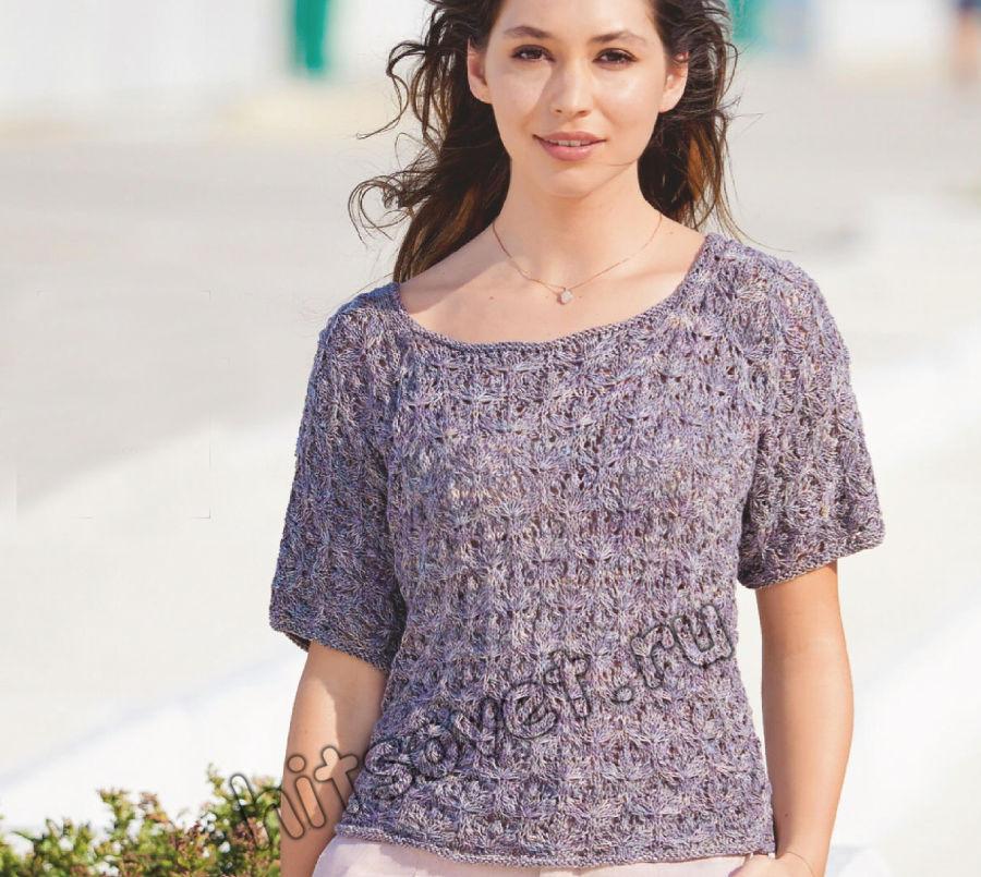 Вязаная футболка женская спицами, фото.