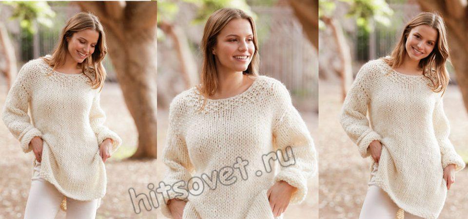 Вязание толстыми спицами джемпера White comfort, фото.