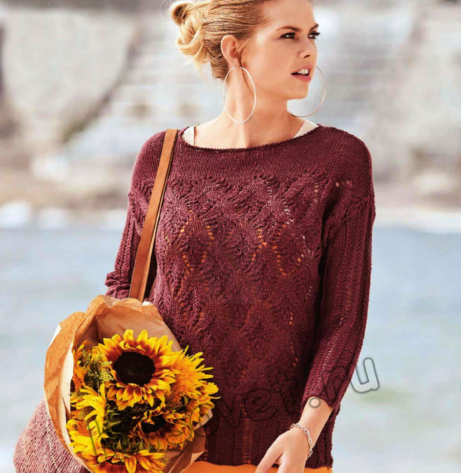 Ажурный летний пуловер со схемой и описанием, фото.