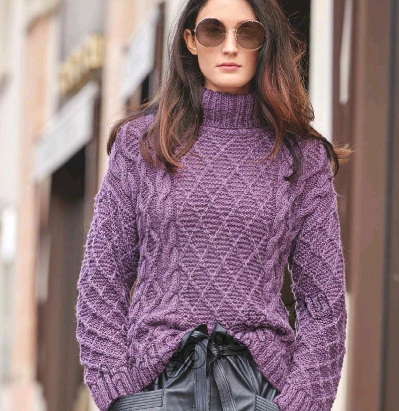 Классический свитер с косами и ромбами, фото.