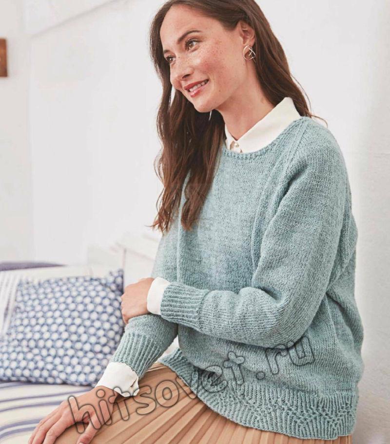 Пуловер лицевой гладью с декоративной планкой зигзаги