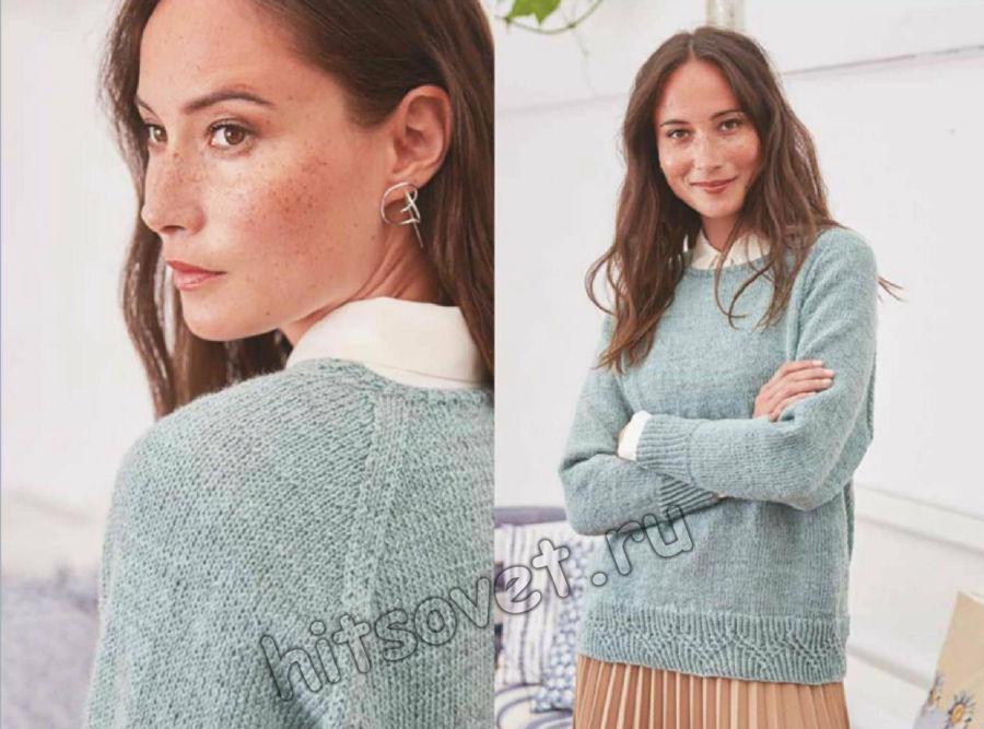 Пуловер лицевой гладью с декоративной планкой зигзаги, фото  2.