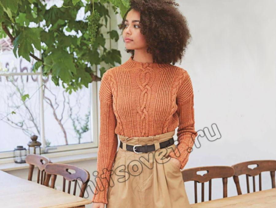 Стильный свитер с косами из 100% шерсти, фото.