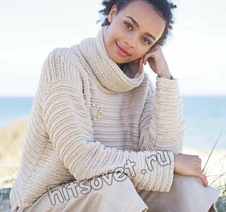 Укороченный свитер с объемным воротником гольф, фото.