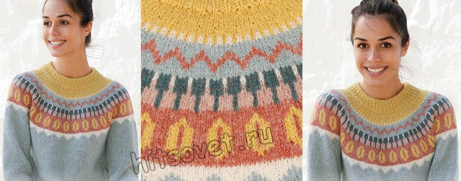 Вязание джемпера Retro beauty, фото 2.
