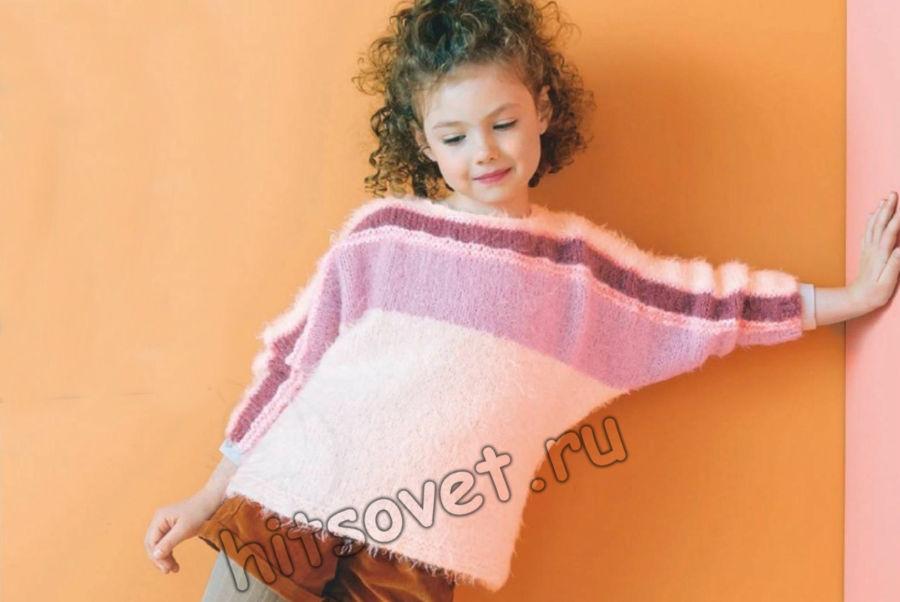 Вязание пуловера для девочки с рукавами летучая мышь, фото.