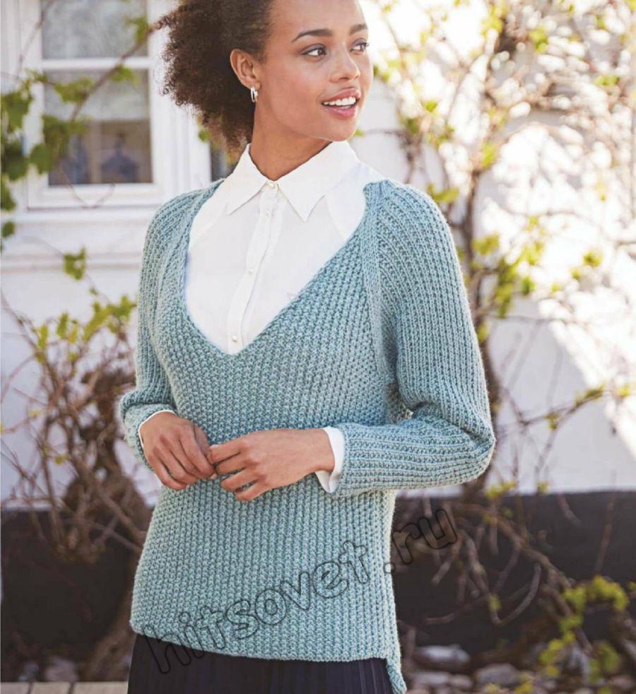 Вязание пуловера с глубоким V-образным вырезом горловины, фото 1.