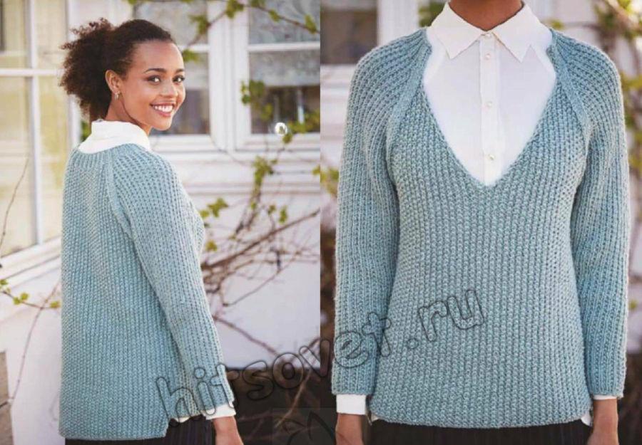 Вязание пуловера с глубоким V-образным вырезом горловины, фото 2.