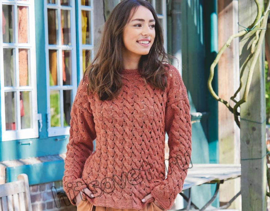 Модный вязаный свитер с косами, фото.