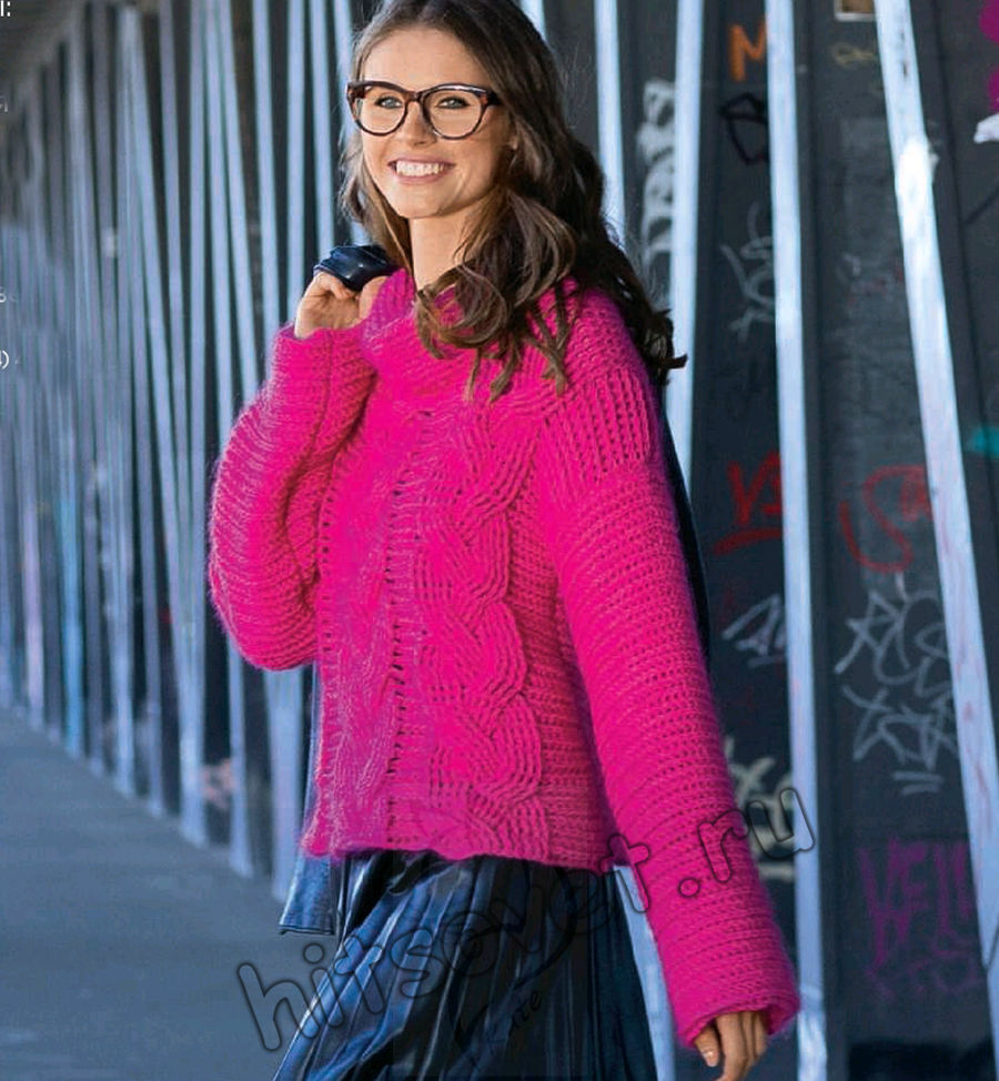 Вязание пуловера крючком с декором из кос, фото.
