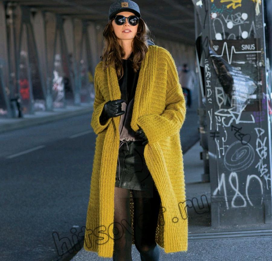 Вязаное пальто крючком, фото 1.