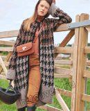 Вязаное жаккардовое пальто