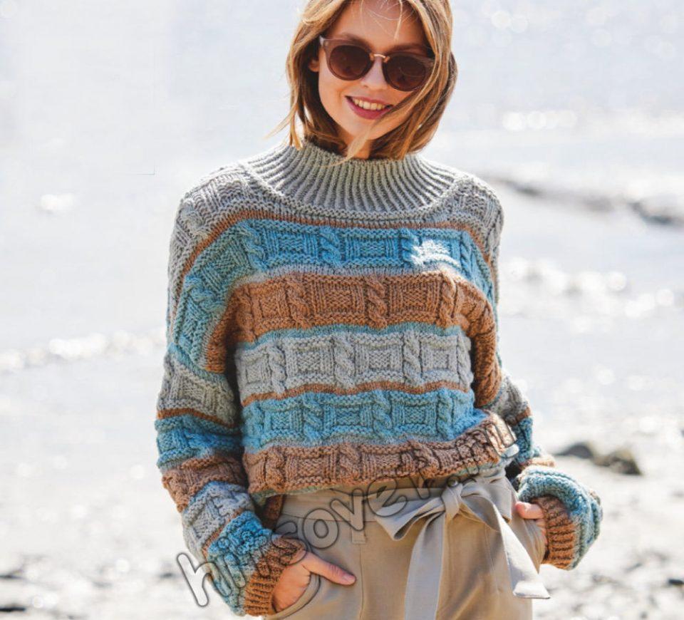 Вязаный полосатый свитер рельефным узором, фото.