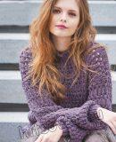 Вязаный свитер ажурной резинкой