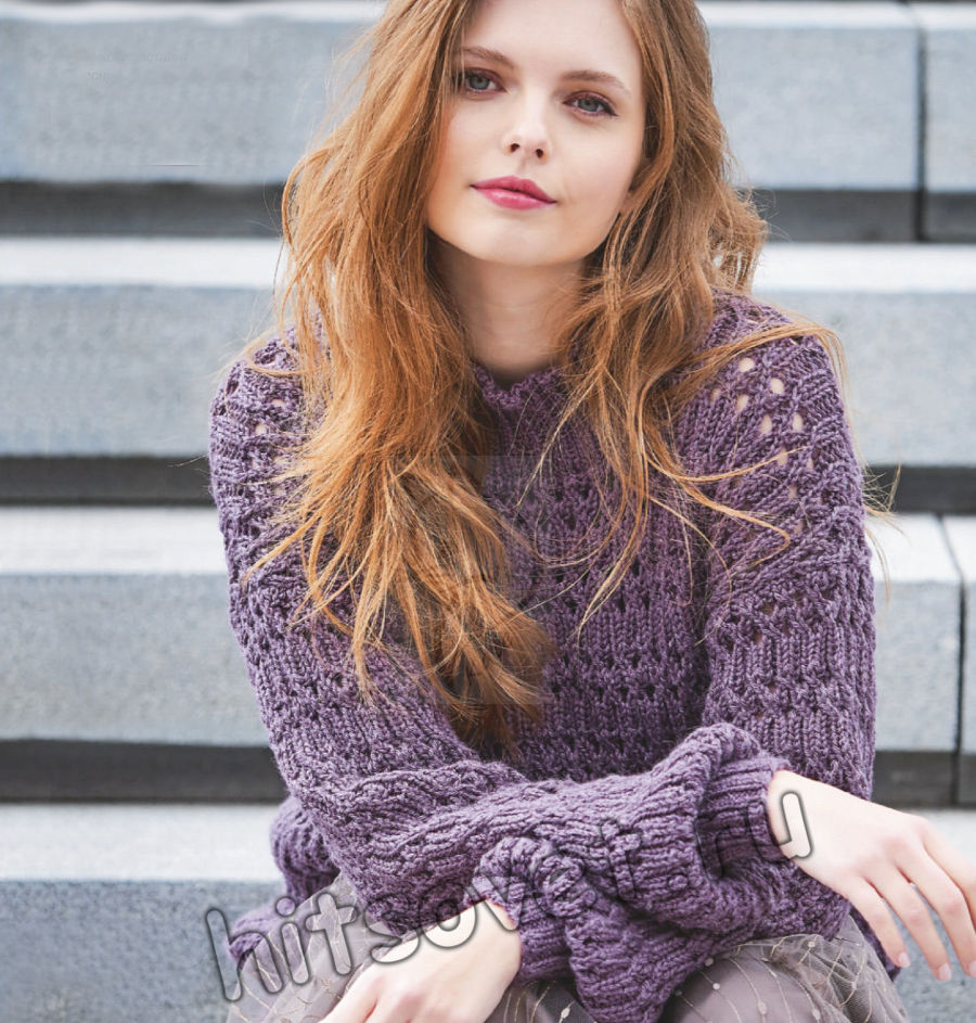 Вязаный свитер ажурной резинкой, фото.