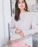 Модный вязаный пуловер с центральной косой
