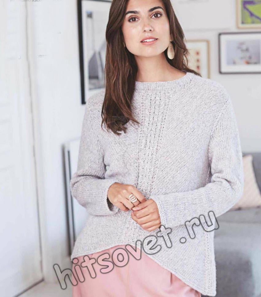 Модный вязаный пуловер с центральной косой, фото.