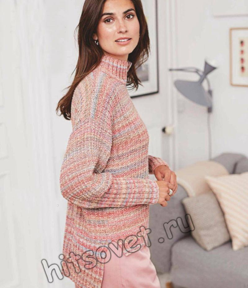 Модный вязаный свитер из секционной пряжи, фото.