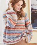 Мохеровый цветной полосатый пуловер