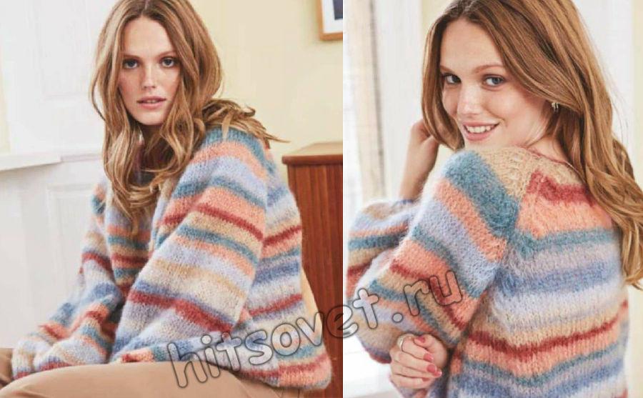 Мохеровый цветной полосатый пуловер, фото 2.