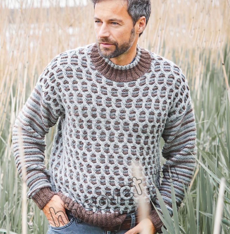 Стильный мужской свитер с узором из кос, фото.