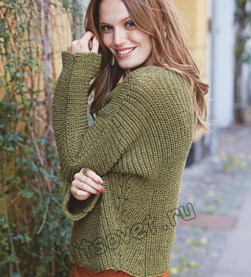 Стильный пуловер патентным узором, фото 1.