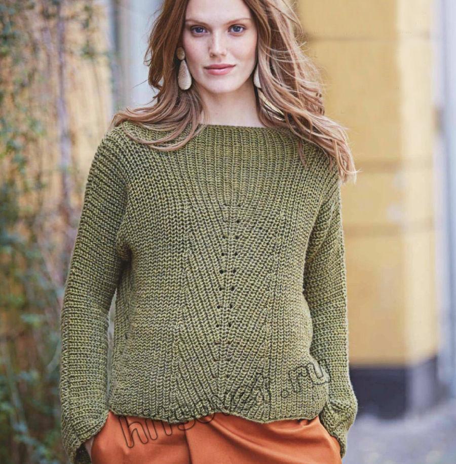 Стильный пуловер патентным узором, фото 2.