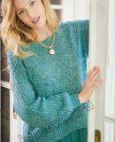 Вязание пуловера с ажурными полосами и полупатентным узором
