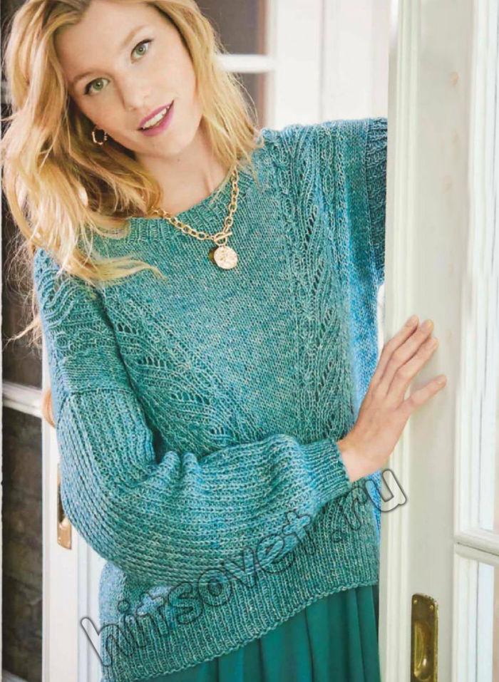 Вязание пуловера с ажурными полосами и полупатентным узором, фото.