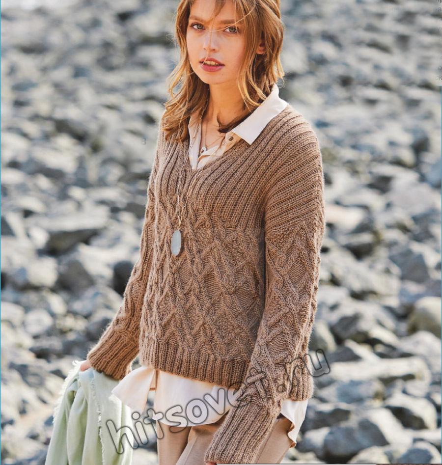 Вязание пуловера с V-образной горловиной и косами, фото.