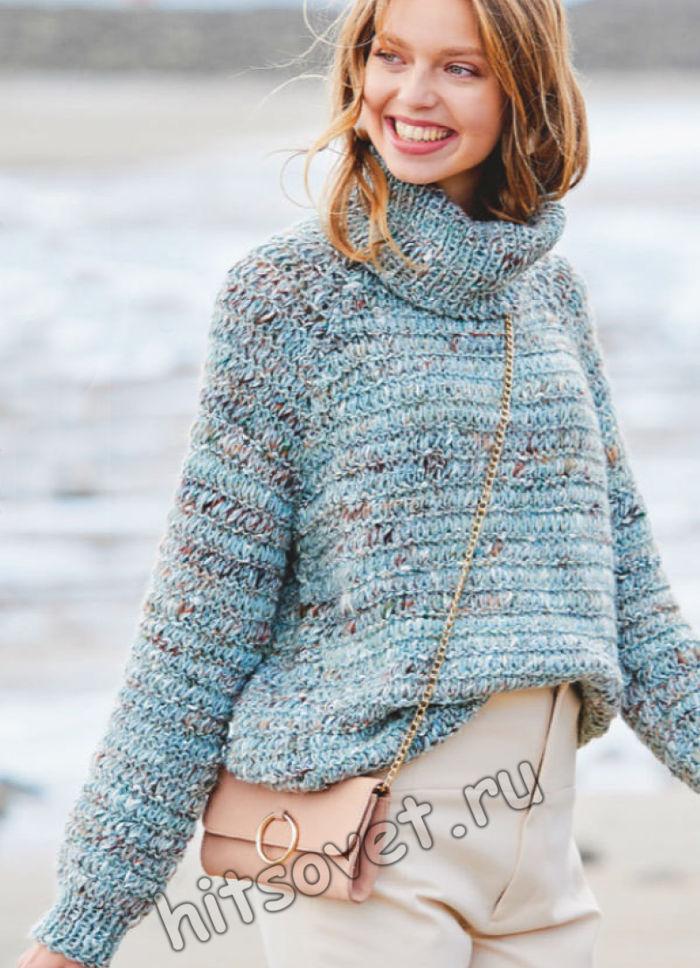 Вязание свитера с поперечной резинкой