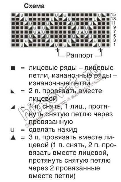 Вязание жилета ажурным узором, схема.
