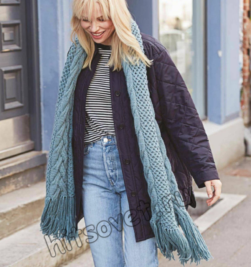 Вязаный длинный шарф с косами, фото 1.
