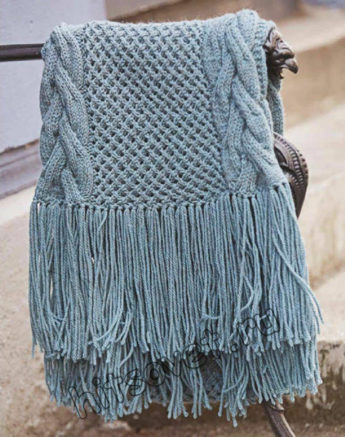 Вязаный длинный шарф с косами, фото 2.