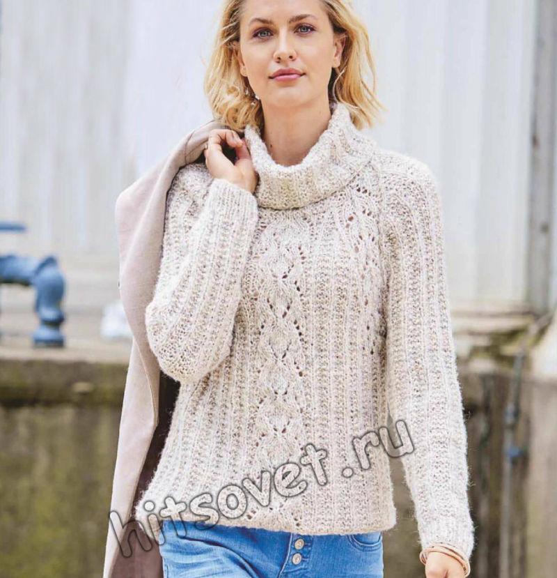 Женский свитер с рукавами реглан и ажурными полосами, фото.
