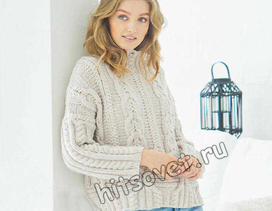 Белый свитер с аранами, фото.