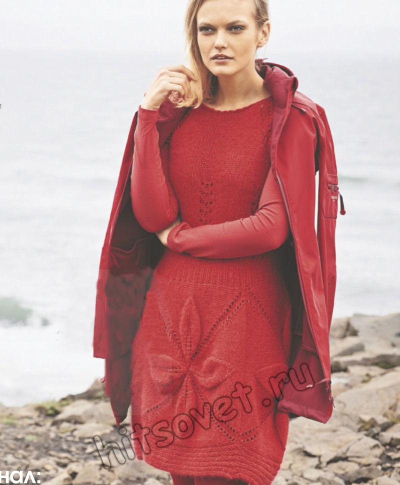 Красное вязаное платье с большими рельефными мотивами, фото.