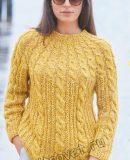 Модный свитер с круглой кокеткой и косами