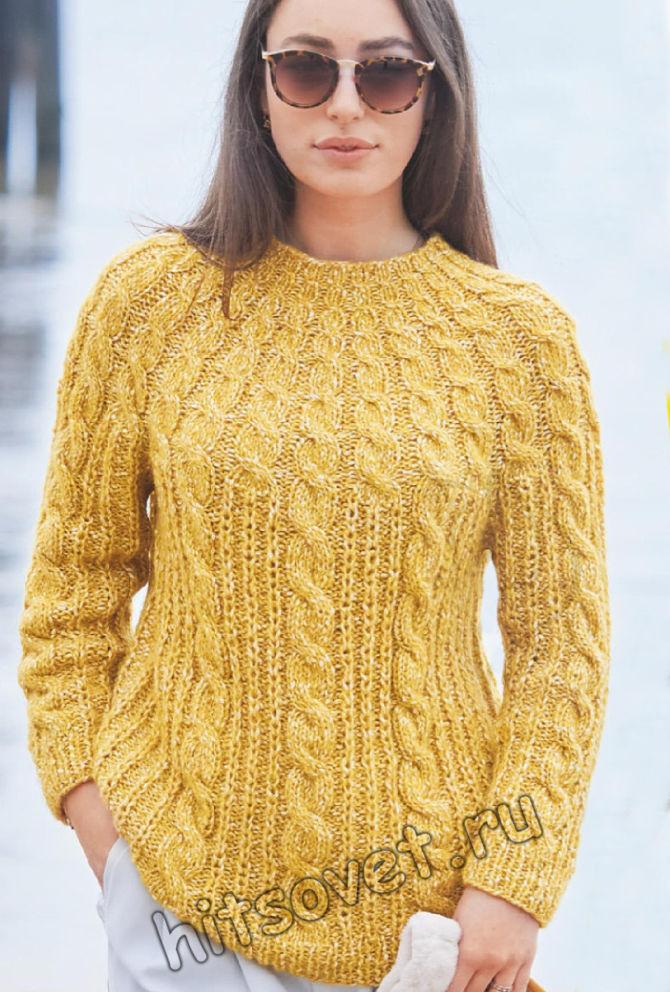 Модный свитер с круглой кокеткой и косами, фото.