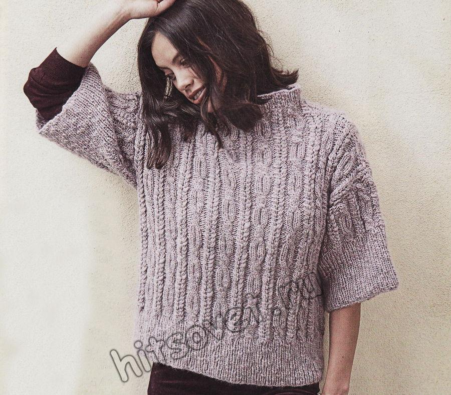 Модный вязаный свитер с рукавами три четверти, фото.