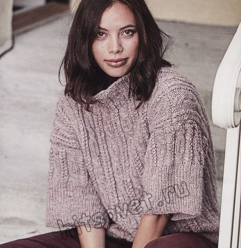 Модный вязаный свитер с рукавами три четверти, фото 2.
