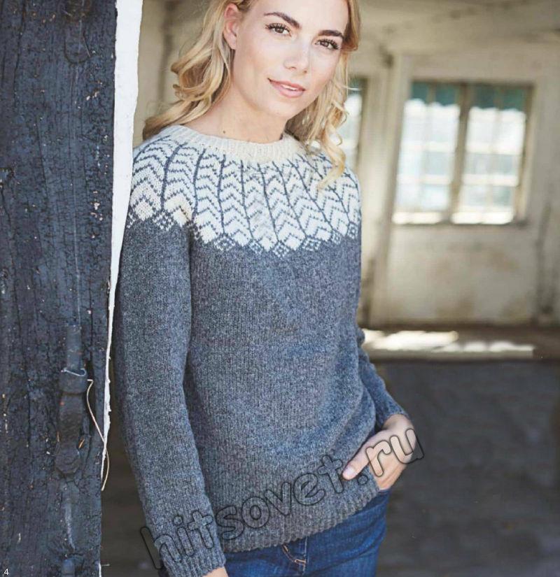 Рождественский женский свитер с жаккардом, фото.